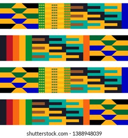 Stripped Kente pattern. Seamless repeating geometric print inspired by African art. Ethnic textile collection.