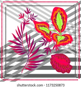 Stripped print with tropical motifs. Silk scarf with palm leavs and lines. Oriental textile collection. Bright contrast red and grey palette.
