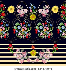 Stripped vector border with sunflowers. Damask pattern with roses, cherry flowers and wildflowers. Vintage folk art motifs.