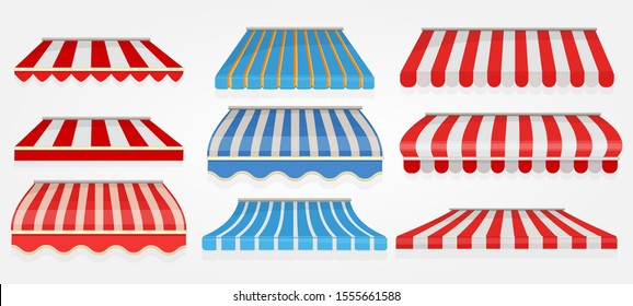 Stripped window canopy. Roof of grocery cafe stored shopping tent outdoor collection vector pictures