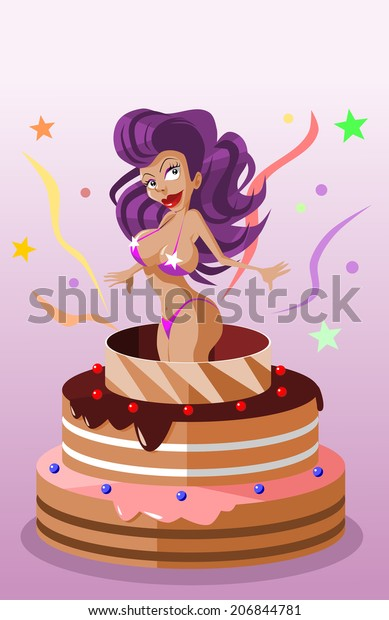 Pleasing Stripper Cake Stock Vector Royalty Free 206844781 Funny Birthday Cards Online Alyptdamsfinfo