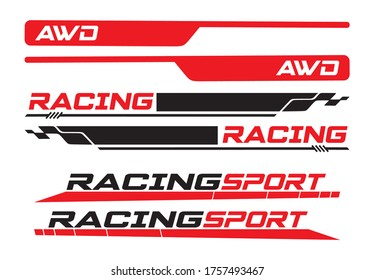 Strips for car with Awd and Racing Sport message