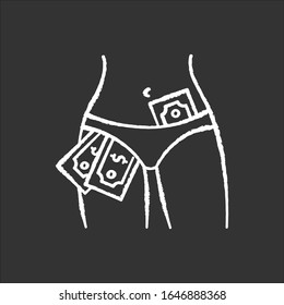 Striptease show chalk white icon on black background. Strip club, adult entertainment, sexy dancing. Female dancer, stripper with money in panties isolated vector chalkboard illustration