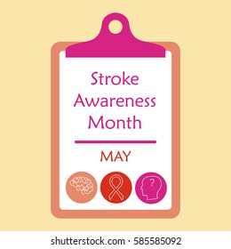 Stroke awareness month concept, Stock vector illustration for medical campaign against mental illness in may.