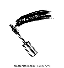 Stroke of black mascara with applicator brush, isolated on white background. Vector.