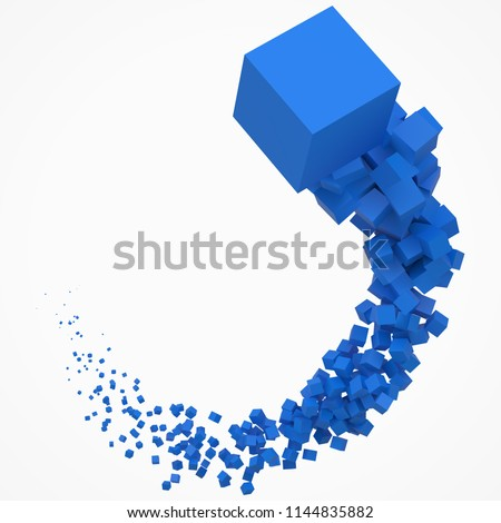 stroke of blue cubes