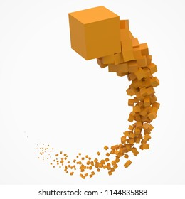 stroke of cubes moving on air. 3d style vector illustration