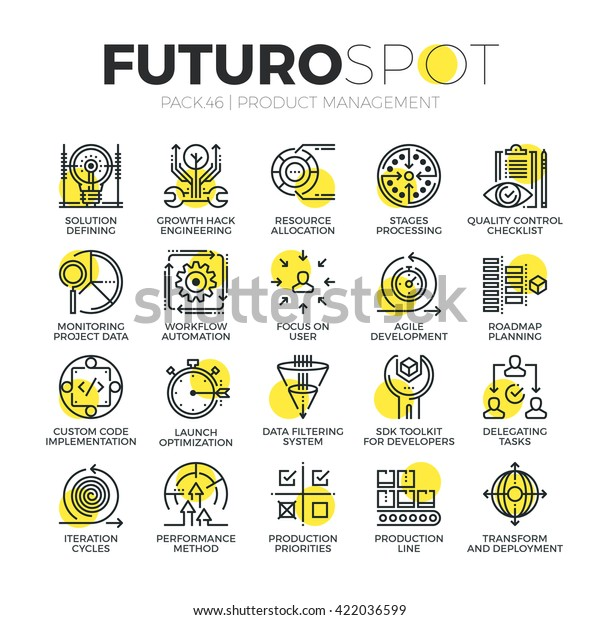 Stroke line icons set of agile product management, project workflow process Modern flat linear pictogram concept Premium quality outline symbol collection Simple vector material design of web graphics