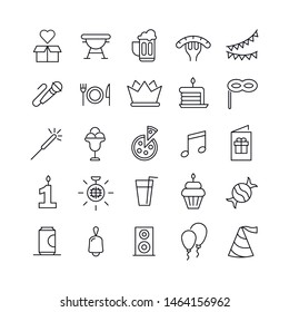 Stroke line icons set of Birthday. Simple symbols for app development and website design. Vector outline pictograms isolated on a white background. Pack of stroke icons.