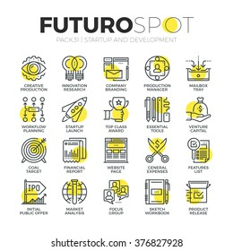 Stroke line icons set of business startup, market vision and brand mission. Modern flat linear pictogram concept. Premium quality outline symbol collection. Simple vector material design, web graphics