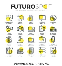 Stroke line icons set of computer electronics and home multimedia devices. Modern flat linear pictogram concept. Premium quality outline symbol collection. Simple vector material design, web graphics.