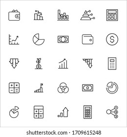 Stroke line icons set of debt. Simple symbols for app development and website design. Vector outline pictograms isolated on a white background. Pack of stroke icons.