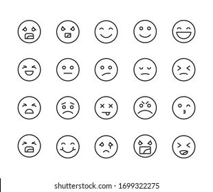 Stroke line icons set of emoji. Simple symbols for app development and website design. Vector outline pictograms isolated on a white background. Pack of stroke icons.