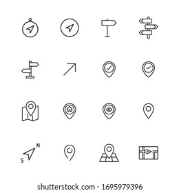 Stroke line icons set of navigation. Simple symbols for app development and website design. Vector outline pictograms isolated on a white background. Pack of stroke icons.