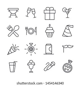 Stroke line icons set of party. Simple symbols for app development and website design. Vector outline pictograms isolated on a white background. Pack of stroke icons.