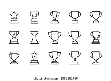 Stroke line icons set of trophy. Simple symbols for app development and website design. Vector outline pictograms isolated on a white background. Pack of stroke icons.