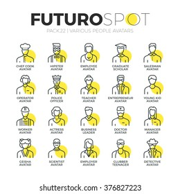 Stroke line icons set of various human avatars, people profession profile. Modern flat linear pictogram concept. Premium quality outline symbol collection. Simple vector material design, web graphics.