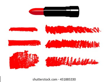 Stroke and paint line drawn by red lipstick