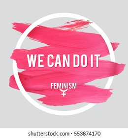 Stroke Poster Feminism. Female Symbol with Text. Woman's Vector Concept.
