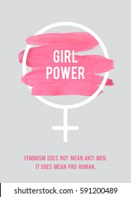 Stroke Poster Feminism. Female Symbol with Text. Woman's Vector Concept. Pro Human Vertical Poster.