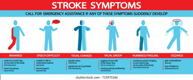 stroke symptoms infographic with icon illustrations