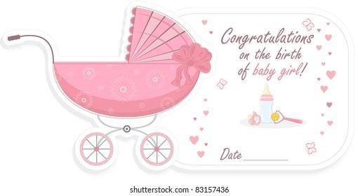 Stroller for baby girl, vector illustration