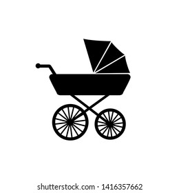 Stroller, carriage vector icon on white background.
