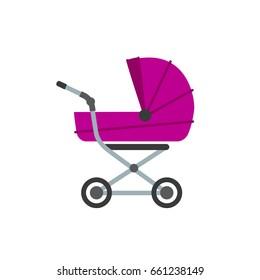 stroller flat isolated illustration. stroller flat icon