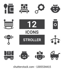 stroller icon set. Collection of 12 filled stroller icons included Pushchair, Baby, Carriage, Cot, Rattle, Baby powder, Crib, Baby food