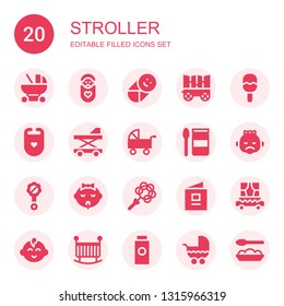 stroller icon set. Collection of 20 filled stroller icons included Baby carriage, Baby, Carriage, Rattle, Bib, Baby walker, Pushchair, food, book, boy, Crib, powder
