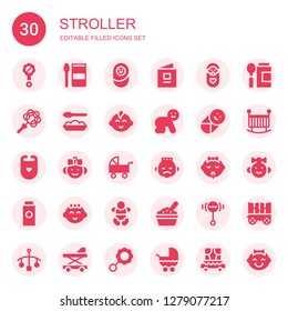stroller icon set. Collection of 30 filled stroller icons included Rattle, food, Newborn, book, Baby, Baby boy, Bib, Pushchair, Baby powder, Baby girl, Crib, Carriage