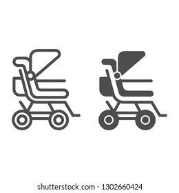 Stroller line and glyph icon. Baby pushchair vector illustration isolated on white. Buggy outline style design, designed for web and app. Eps 10.