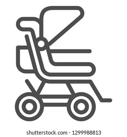 Stroller line icon. Baby pushchair vector illustration isolated on white. Buggy outline style design, designed for web and app. Eps 10