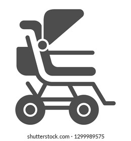 Stroller solid icon. Baby pushchair vector illustration isolated on white. Buggy glyph style design, designed for web and app. Eps 10
