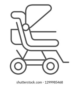 Stroller thin line icon. Baby pushchair vector illustration isolated on white. Buggy outline style design, designed for web and app. Eps 10