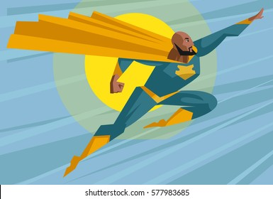 strong african superhero flying in the sky