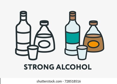 Strong Alcohol Concept. Vodka and Whiskey Cognac Bottle Minimal Flat Line Outline Colorful and Stroke Icon Pictogram