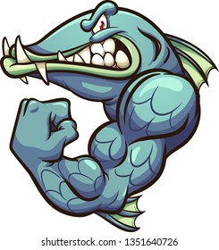 Strong angry cartoon barracuda fish mascot clip art. Vector illustration with simple gradients. All in a single layer.