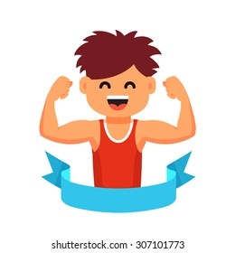 Strong athletic looking kid showing his biceps muscles in a blue winner ribbon. Sportsman children healthy lifestyle concept. Flat style cartoon vector illustration isolated on white background.