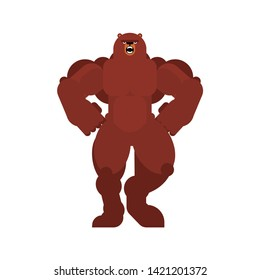 Strong bear. Powerful Grizzly. animal bodybuilder. hard beast