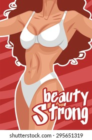 Strong beauty poster red female body