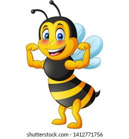 Strong bee cartoon. vector illustration