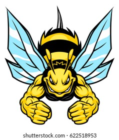 Strong bee mascot