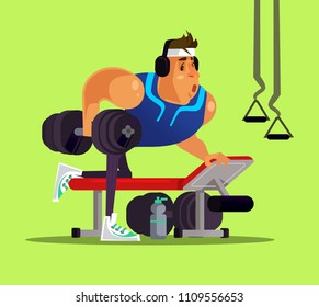 Strong big sport man doing workout exercise in gym. Healthy lifestyle concept flat cartoon design graphic isolated illustration