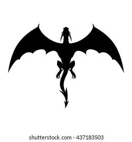 Strong black dragon in flight.