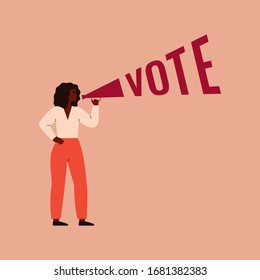 Strong black girl speaks into a megaphone. Woman activist is calling for votes. Voting, Election and suffrage women concept. Vector illustration