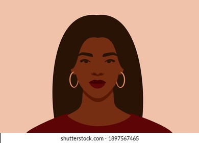 Strong Black woman with long hair looks directly. Confident young woman with brown skin portrait front view. Vector illustration.