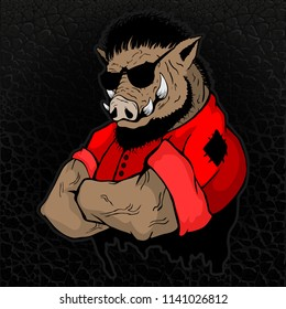 Strong boar-man on the texture of the skin.