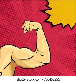 Strong Bodybuilder Biceps on Pop art comic style with comic text background and speech bubble. Vector eps.10