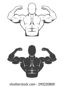 Strong bodybuilder man with perfect abs, shoulders,biceps, triceps and chest flexing his muscles. Monochrome vector EPS8 illustration.